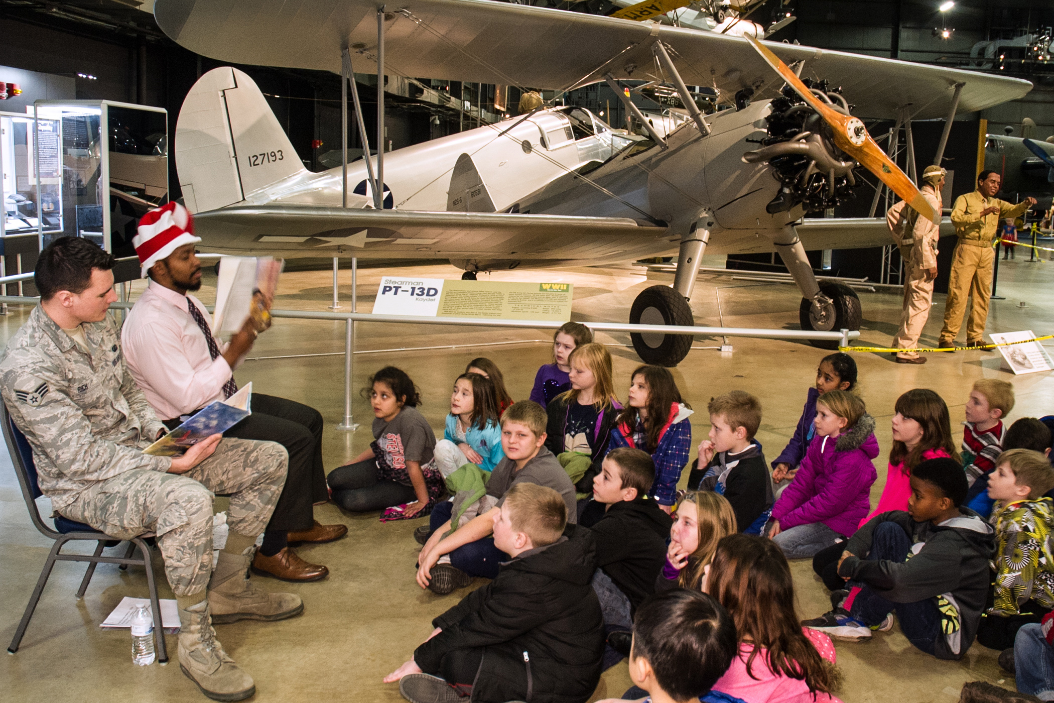 Speaking to a group of children